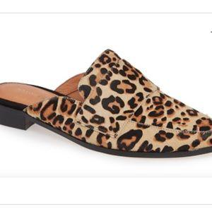 Halogen leopard print calf hair mules, size 6